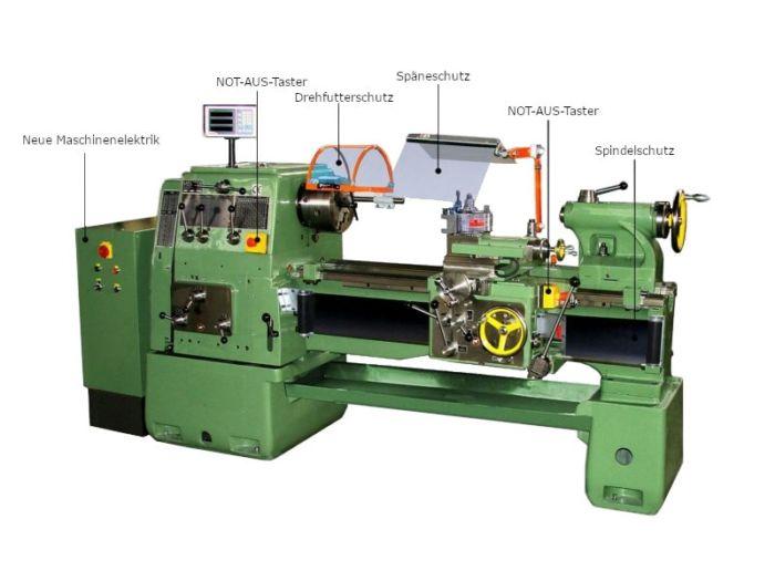 Nachruestung von Schutzeinrichtungen an einer konventionellen Drehmaschine